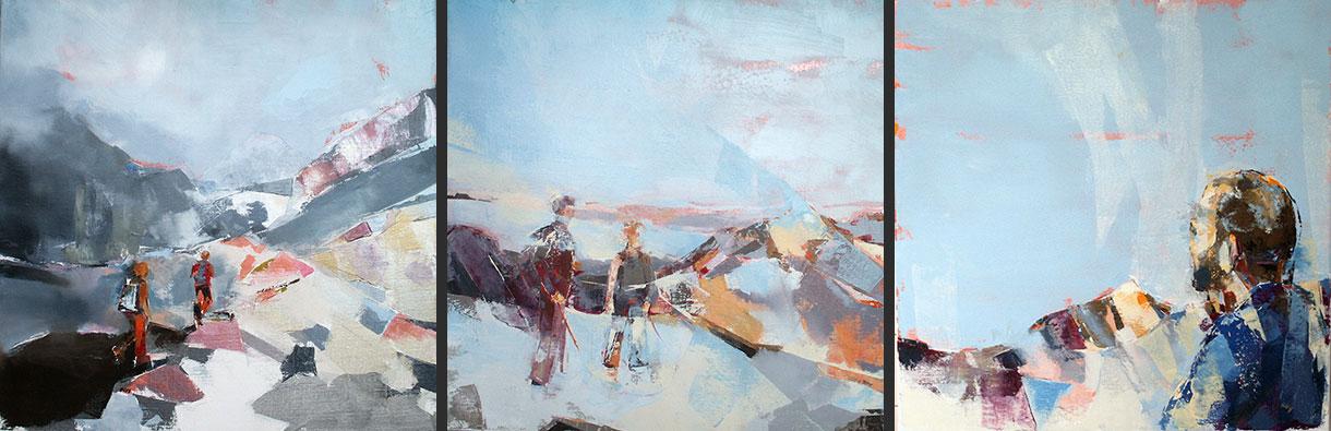 Chemin de vie troisième tryptique: toiles de 50x50 cm