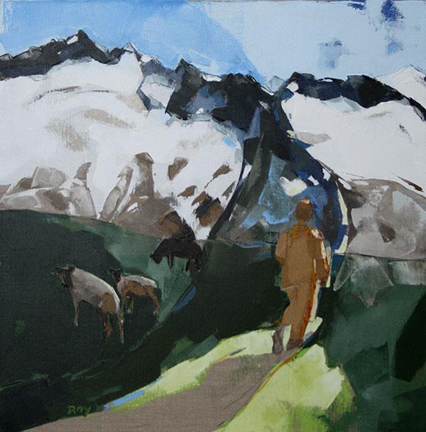 Dans la solitude des heutes vallées - 60x60 cm